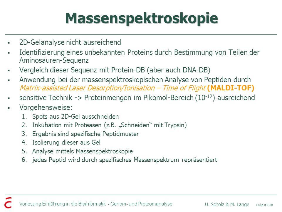 Vorlesung Einführung in die Bioinformatik - U. Scholz & M. Lange Folie #4-38 Genom- und Proteomanalyse Massenspektroskopie 2D-Gelanalyse nicht ausreic