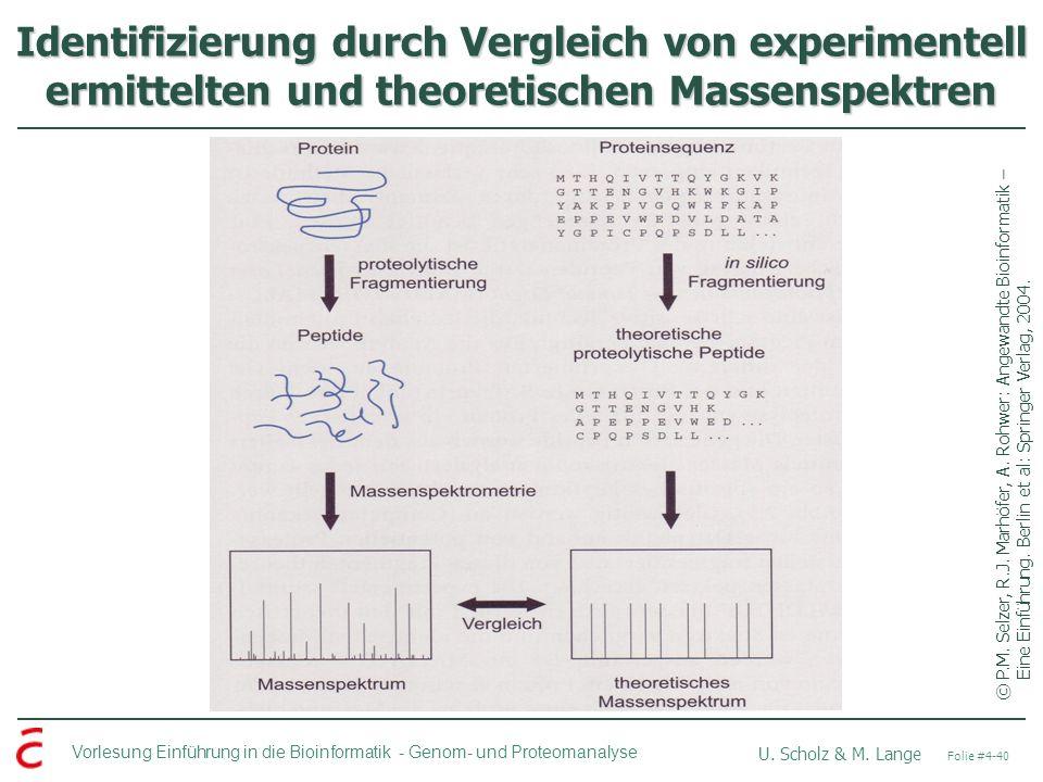 Vorlesung Einführung in die Bioinformatik - U. Scholz & M. Lange Folie #4-40 Genom- und Proteomanalyse Identifizierung durch Vergleich von experimente