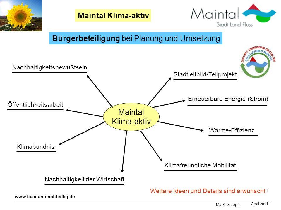 MafK-Gruppe April 2011 Maintal Klima-aktiv Bürgerbeteiligung bei Planung und Umsetzung Nachhaltigkeitsbewußtsein Maintal Klima-aktiv Stadtleitbild-Tei