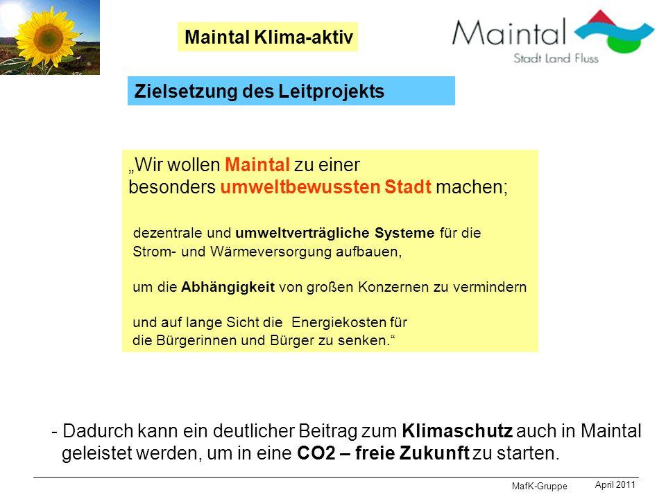MafK-Gruppe April 2011 Maintal Klima-aktiv Zielsetzung des Leitprojekts Wir wollen Maintal zu einer besonders umweltbewussten Stadt machen; dezentrale