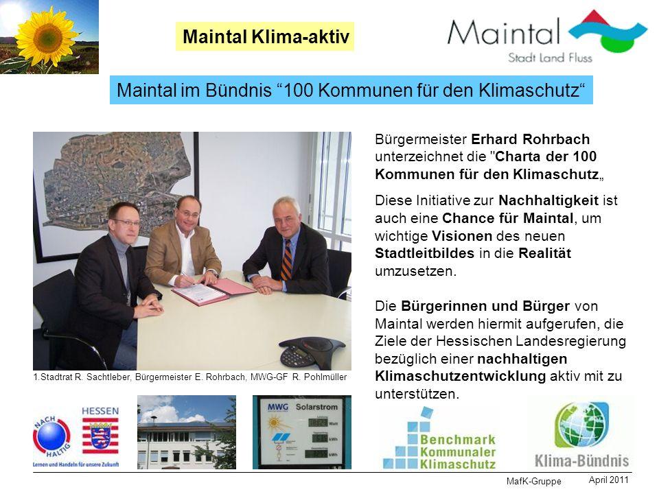 MafK-Gruppe April 2011 Maintal Klima-aktiv Maintal im Bündnis 100 Kommunen für den Klimaschutz Bürgermeister Erhard Rohrbach unterzeichnet die