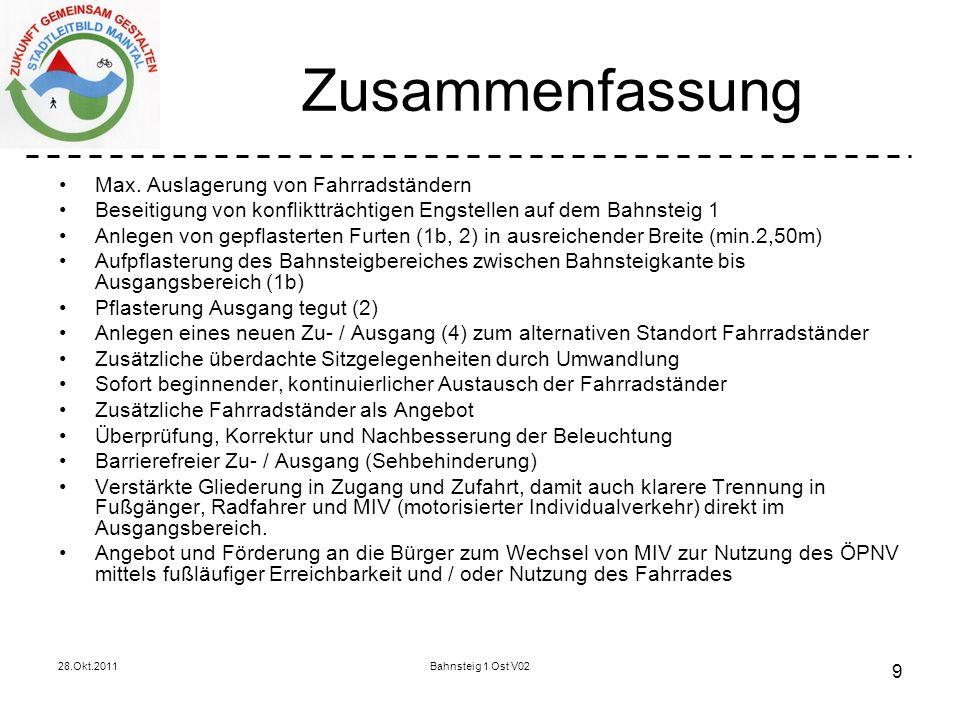 28.Okt.2011Bahnsteig 1 Ost V02 9 Zusammenfassung Max.