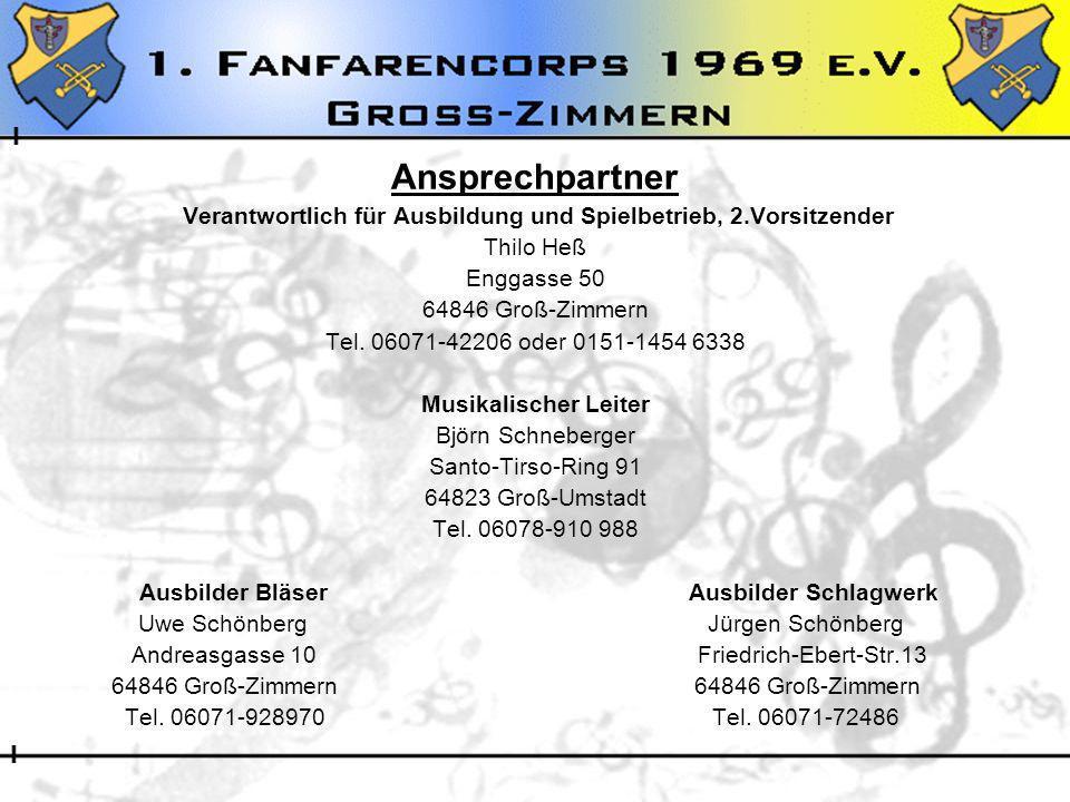 Ansprechpartner Verantwortlich für Ausbildung und Spielbetrieb, 2.Vorsitzender Thilo Heß Enggasse 50 64846 Groß-Zimmern Tel. 06071-42206 oder 0151-145