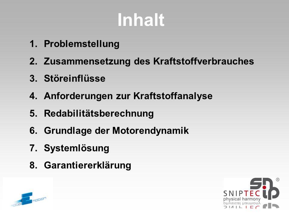 Inhalt 1.Problemstellung 2.Zusammensetzung des Kraftstoffverbrauches 3.Störeinflüsse 4.Anforderungen zur Kraftstoffanalyse 5.Redabilitätsberechnung 6.