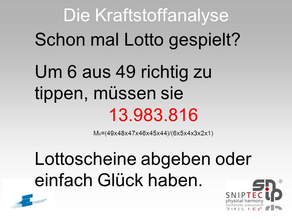 Die Kraftstoffanalyse Schon mal Lotto gespielt? Um 6 aus 49 richtig zu tippen, müssen sie 13.983.816 M 6 =(49x48x47x46x45x44)/(6x5x4x3x2x1) Lottoschei