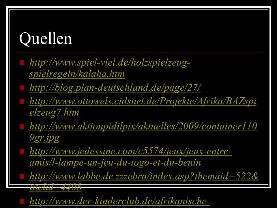 Quellen http://www.spiel-viel.de/holzspielzeug- spielregeln/kalaha.htm http://www.spiel-viel.de/holzspielzeug- spielregeln/kalaha.htm http://blog.plan