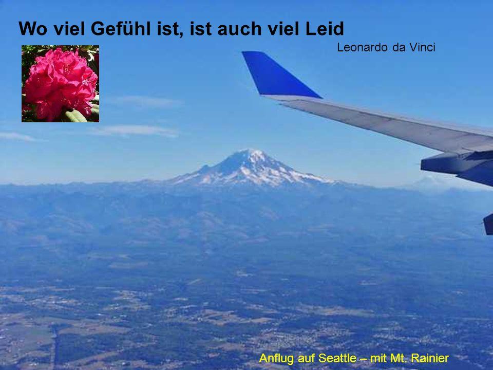 Wo viel Gefühl ist, ist auch viel Leid Leonardo da Vinci Anflug auf Seattle – mit Mt. Rainier