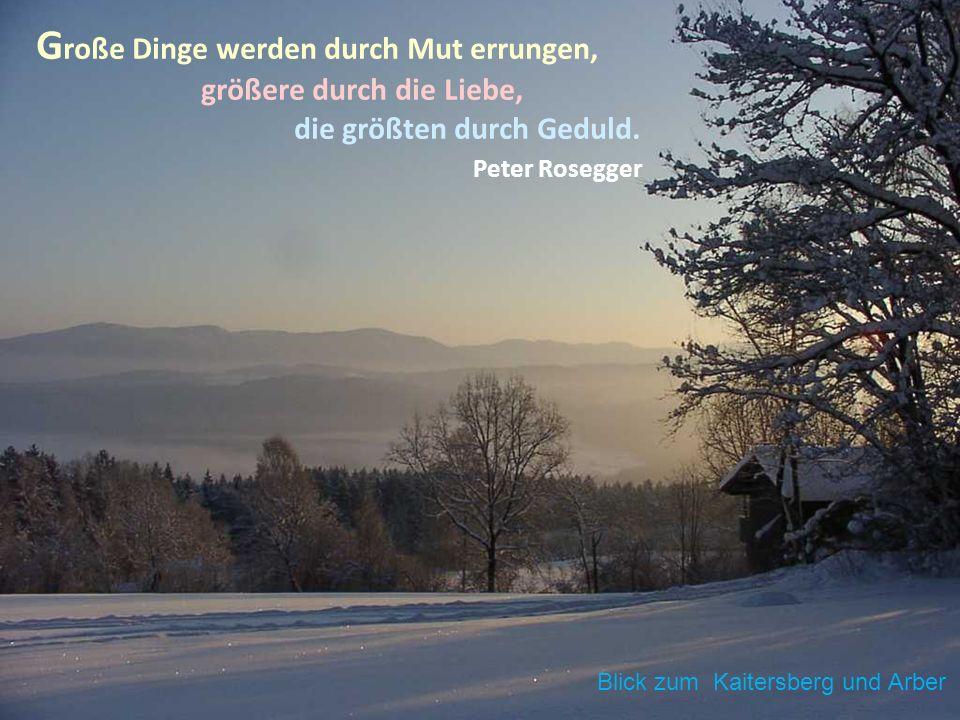 G roße Dinge werden durch Mut errungen, größere durch die Liebe, die größten durch Geduld. Peter Rosegger Blick zum Kaitersberg und Arber