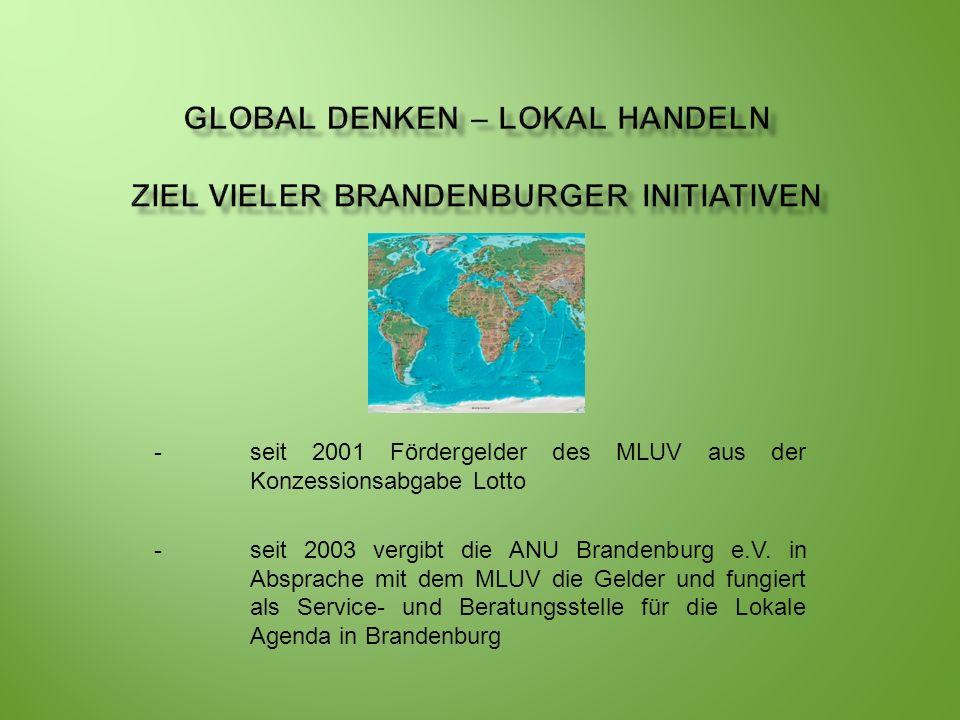 -seit 2001 Fördergelder des MLUV aus der Konzessionsabgabe Lotto -seit 2003 vergibt die ANU Brandenburg e.V. in Absprache mit dem MLUV die Gelder und