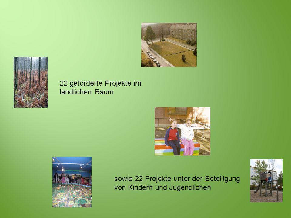 22 geförderte Projekte im ländlichen Raum sowie 22 Projekte unter der Beteiligung von Kindern und Jugendlichen