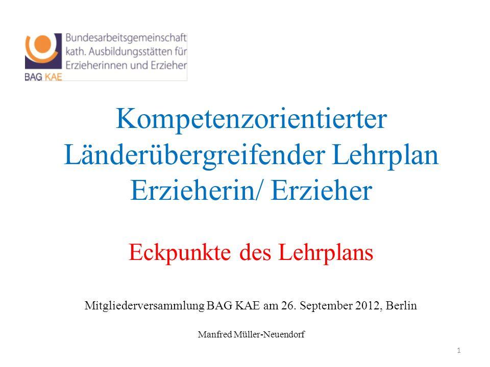 Kompetenzorientierter Länderübergreifender Lehrplan Erzieherin/ Erzieher Eckpunkte des Lehrplans Mitgliederversammlung BAG KAE am 26. September 2012,