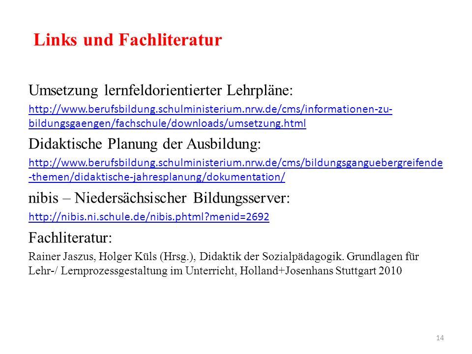 Links und Fachliteratur Umsetzung lernfeldorientierter Lehrpläne: http://www.berufsbildung.schulministerium.nrw.de/cms/informationen-zu- bildungsgaeng
