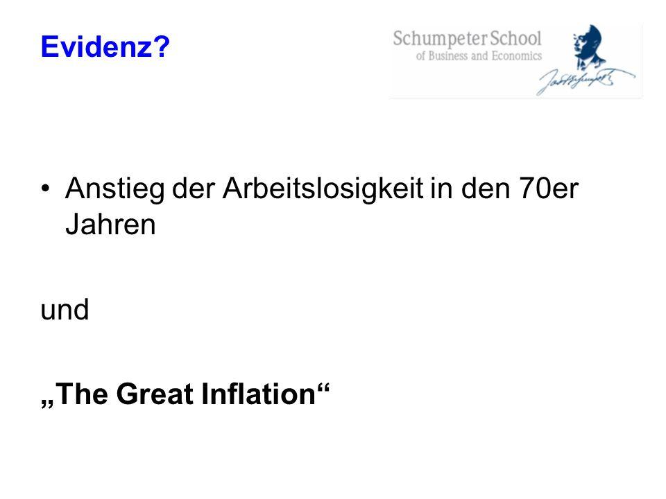 Evidenz? Anstieg der Arbeitslosigkeit in den 70er Jahren und The Great Inflation