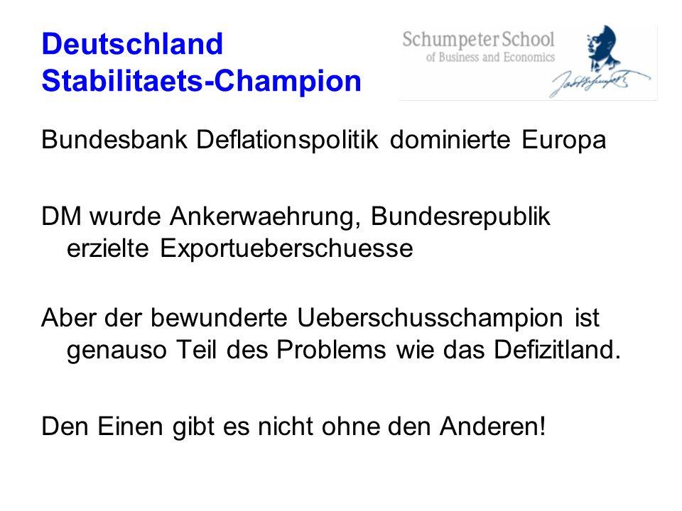 Deutschland Stabilitaets-Champion Bundesbank Deflationspolitik dominierte Europa DM wurde Ankerwaehrung, Bundesrepublik erzielte Exportueberschuesse A