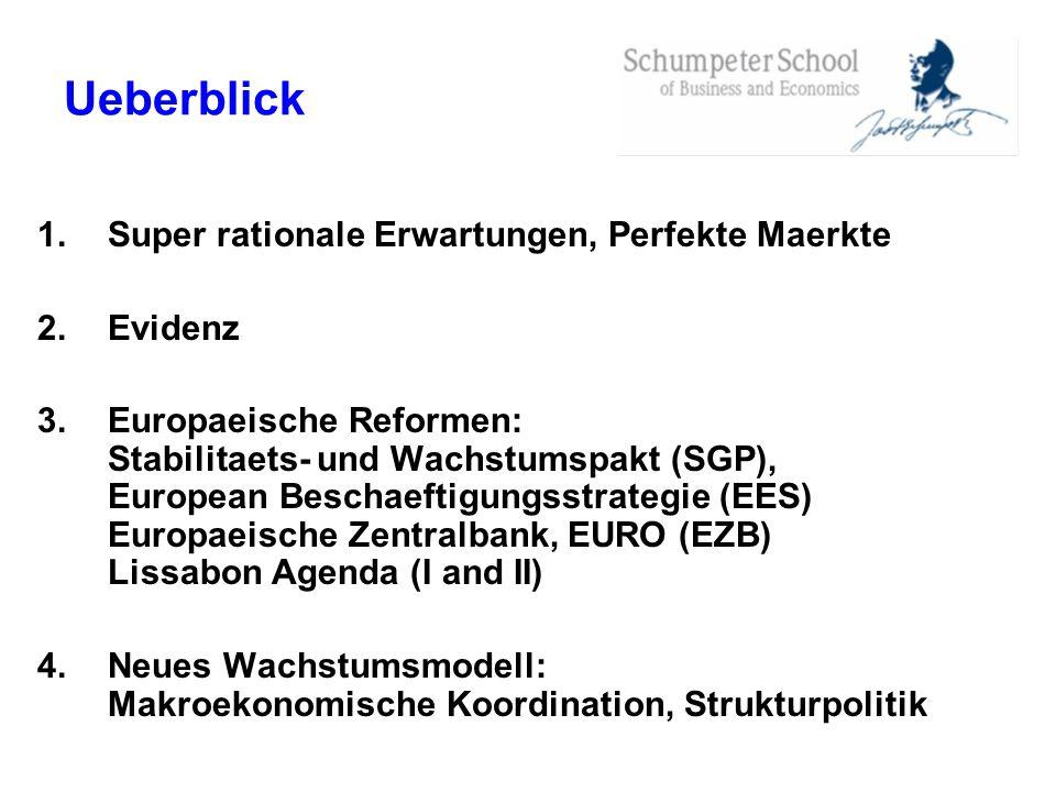 Ueberblick 1.Super rationale Erwartungen, Perfekte Maerkte 2.Evidenz 3.Europaeische Reformen: Stabilitaets- und Wachstumspakt (SGP), European Beschaef