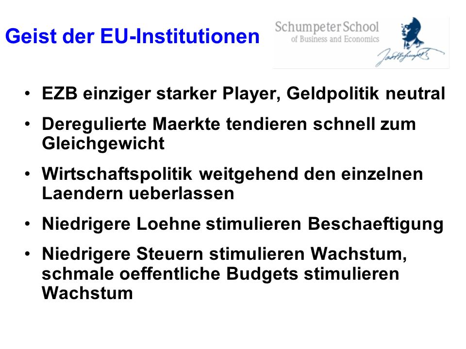 Geist der EU-Institutionen EZB einziger starker Player, Geldpolitik neutral Deregulierte Maerkte tendieren schnell zum Gleichgewicht Wirtschaftspoliti