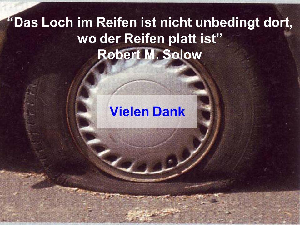 Das Loch im Reifen ist nicht unbedingt dort, wo der Reifen platt ist Robert M. Solow Vielen Dank