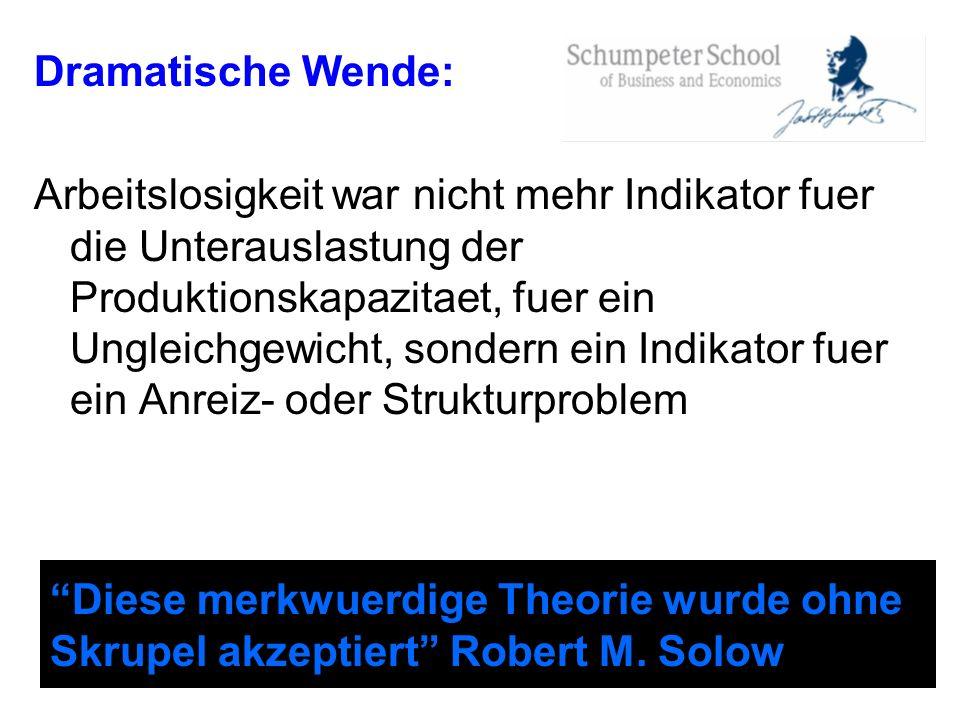 Diese merkwuerdige Theorie wurde ohne Skrupel akzeptiert Robert M. Solow Dramatische Wende: Arbeitslosigkeit war nicht mehr Indikator fuer die Unterau