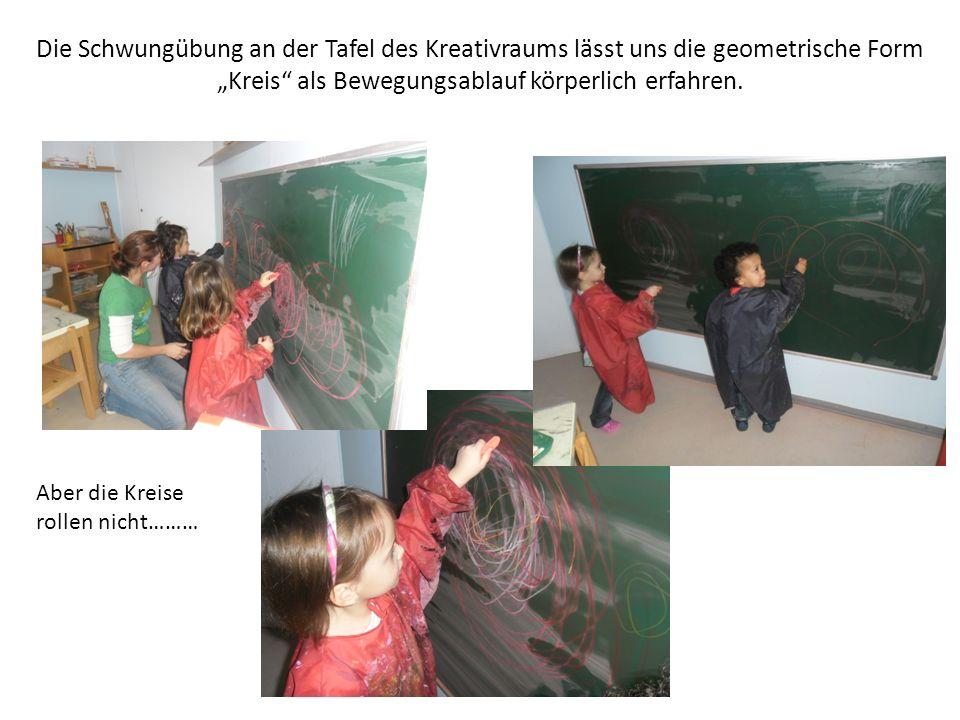 Die Schwungübung an der Tafel des Kreativraums lässt uns die geometrische Form Kreis als Bewegungsablauf körperlich erfahren. Aber die Kreise rollen n