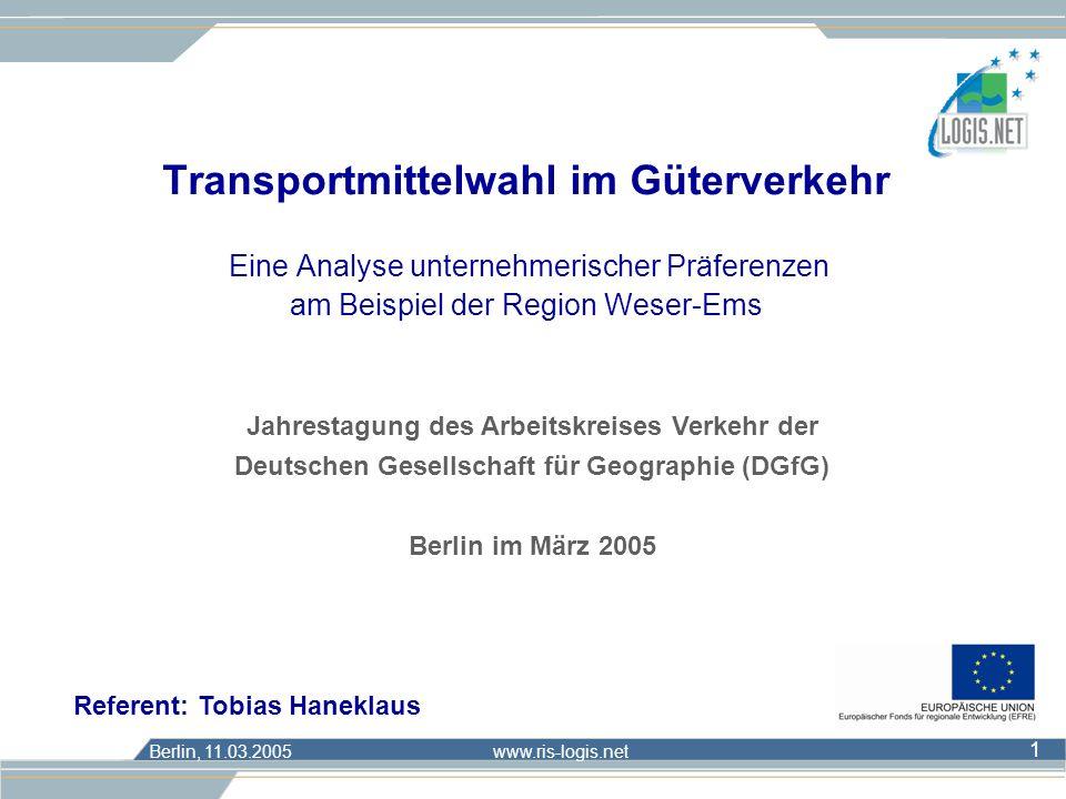 Berlin, 11.03.2005 www.ris-logis.net 12 n Aggregation der individuellen Ergebnisse: Normierung der Teilnutzenwerte 1.Transformation der Teilnutzenwerte (TNW): Differenzwert zwischen allen TNW und dem kleinsten TNW des entsprechenden Merkmals Œ Einführung Conjoint- AuswertungErgebnisseFolgerungen/ Analyse Ausblick = TNW für Ausprägung m von Eigenschaft j = minimaler TNW der Eigenschaft j