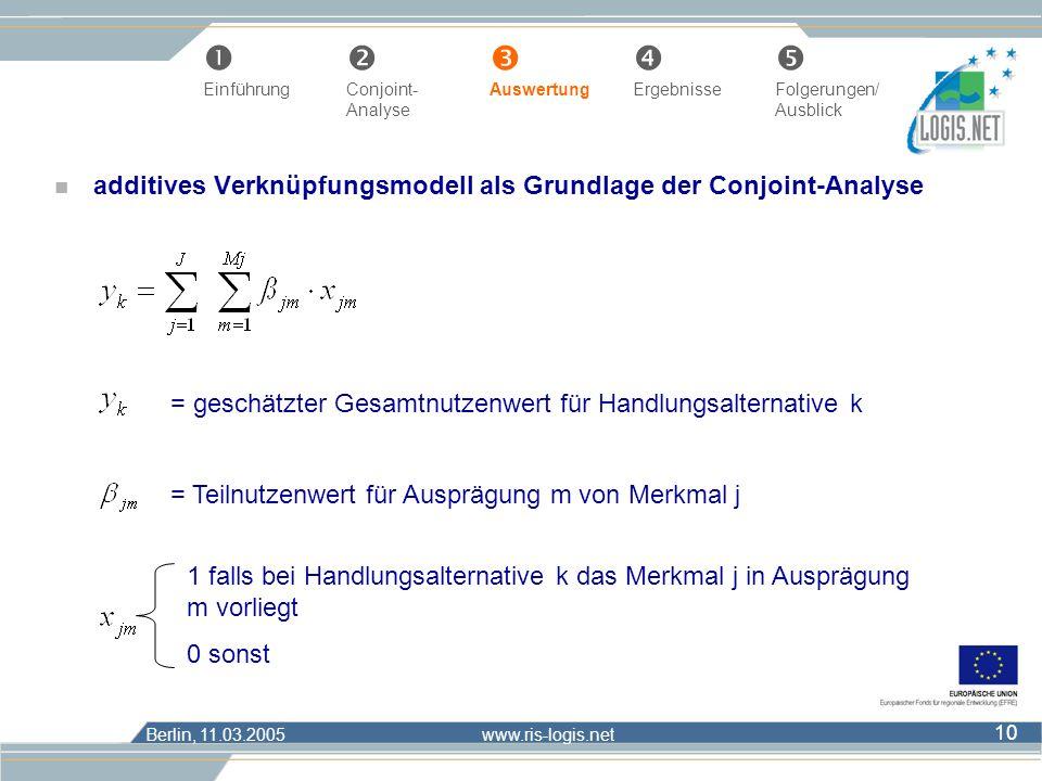 Berlin, 11.03.2005 www.ris-logis.net 10 n additives Verknüpfungsmodell als Grundlage der Conjoint-Analyse = geschätzter Gesamtnutzenwert für Handlungs