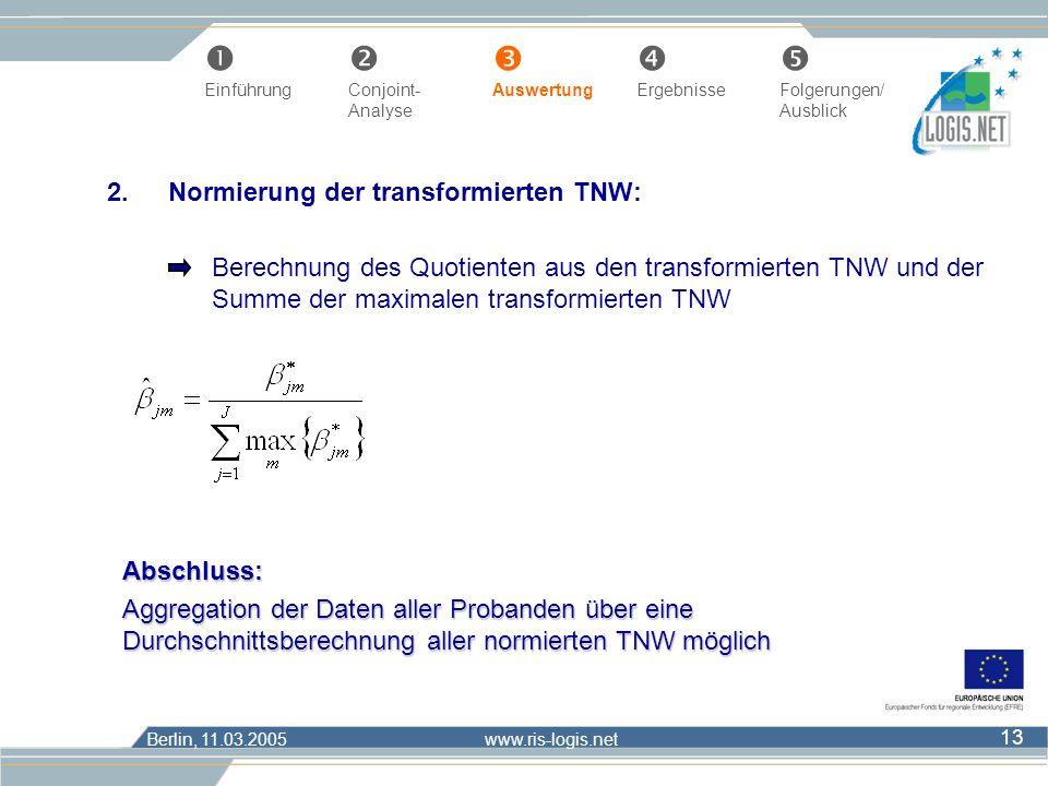 Berlin, 11.03.2005 www.ris-logis.net 13 2.Normierung der transformierten TNW: Berechnung des Quotienten aus den transformierten TNW und der Summe der