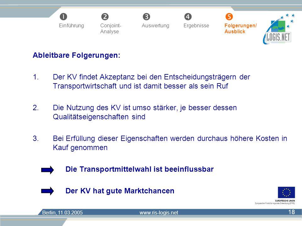 Berlin, 11.03.2005 www.ris-logis.net 18 Ableitbare Folgerungen: 1.Der KV findet Akzeptanz bei den Entscheidungsträgern der Transportwirtschaft und ist