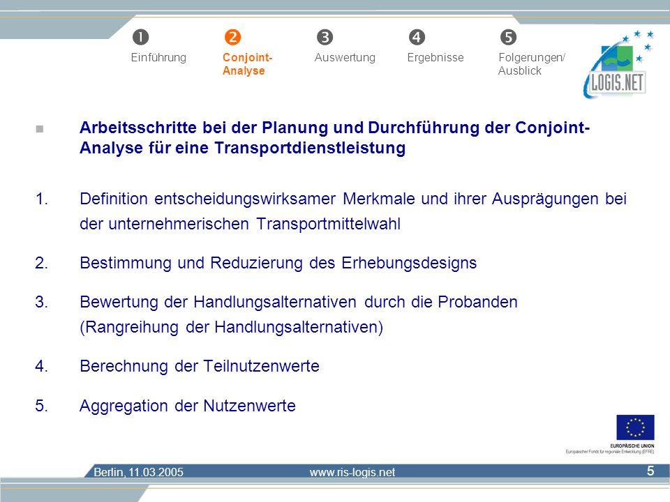 Berlin, 11.03.2005 www.ris-logis.net 16 Œ Einführung Conjoint- AuswertungErgebnisseFolgerungen/ Analyse Ausblick Transportmittelwahl bei unterschiedlichen Bedingungen