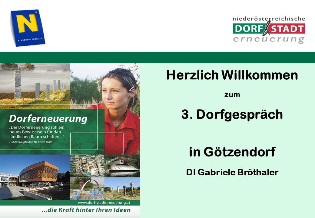 Herzlich Willkommen zum 3. Dorfgespräch in Götzendorf DI Gabriele Bröthaler