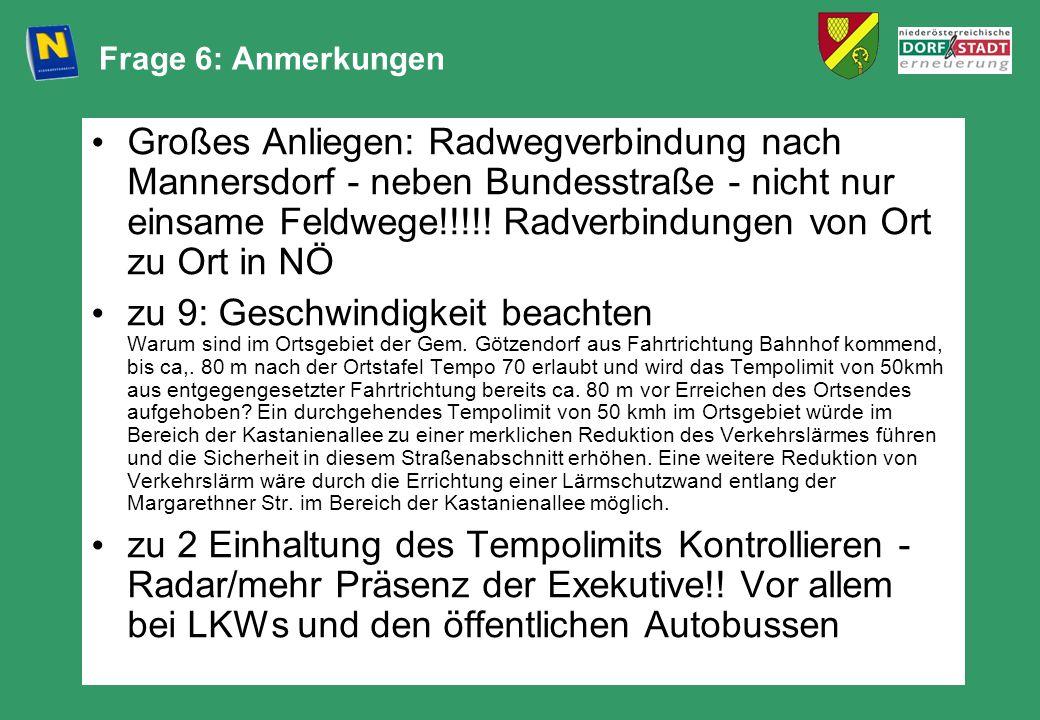 Frage 6: Anmerkungen Großes Anliegen: Radwegverbindung nach Mannersdorf - neben Bundesstraße - nicht nur einsame Feldwege!!!!! Radverbindungen von Ort