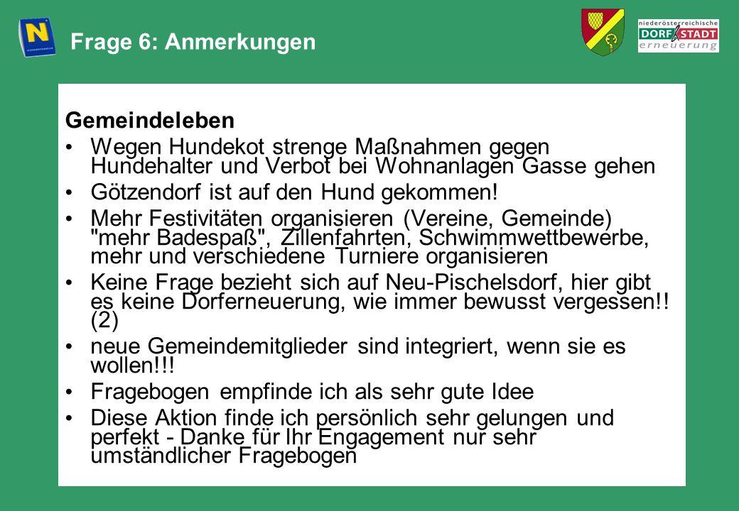 Frage 6: Anmerkungen Gemeindeleben Wegen Hundekot strenge Maßnahmen gegen Hundehalter und Verbot bei Wohnanlagen Gasse gehen Götzendorf ist auf den Hu