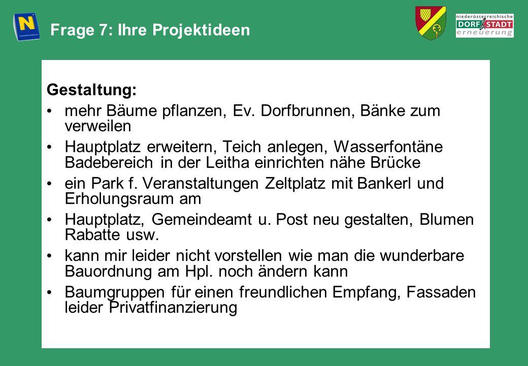 Frage 7: Ihre Projektideen Gestaltung: mehr Bäume pflanzen, Ev. Dorfbrunnen, Bänke zum verweilen Hauptplatz erweitern, Teich anlegen, Wasserfontäne Ba