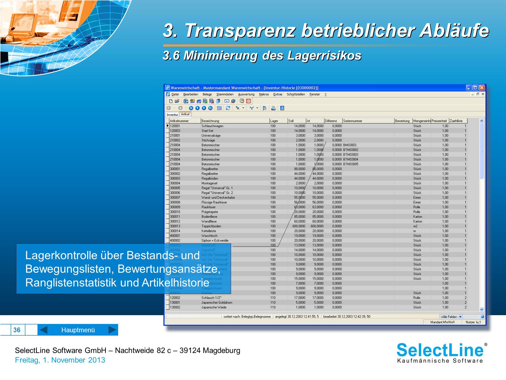 SelectLine Software GmbH – Nachtweide 82 c – 39124 Magdeburg Freitag, 1. November 2013 36 3. Transparenz betrieblicher Abläufe 3.6 Minimierung des Lag