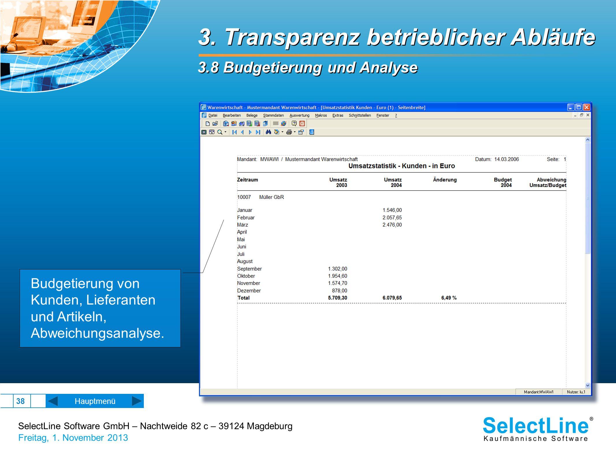 SelectLine Software GmbH – Nachtweide 82 c – 39124 Magdeburg Freitag, 1. November 2013 38 3. Transparenz betrieblicher Abläufe 3.8 Budgetierung und An