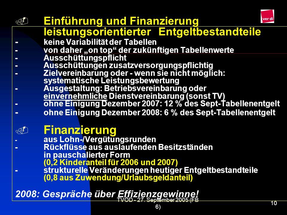 TVÖD - 27. September 2005 (FB 6) 10 Einführung und Finanzierung leistungsorientierter Entgeltbestandteile - keine Variabilität der Tabellen -von daher