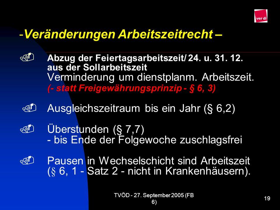 TVÖD - 27. September 2005 (FB 6) 19 -Veränderungen Arbeitszeitrecht – Abzug der Feiertagsarbeitszeit/ 24. u. 31. 12. aus der Sollarbeitszeit Verminder