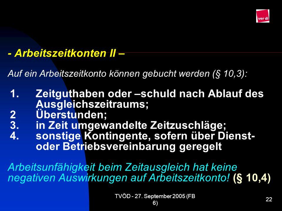 TVÖD - 27. September 2005 (FB 6) 22 - Arbeitszeitkonten II – Auf ein Arbeitszeitkonto können gebucht werden (§ 10,3): 1.Zeitguthaben oder –schuld nach