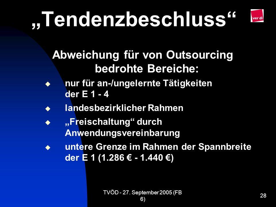 TVÖD - 27. September 2005 (FB 6) 28 Tendenzbeschluss Abweichung für von Outsourcing bedrohte Bereiche: nur für an-/ungelernte Tätigkeiten der E 1 - 4