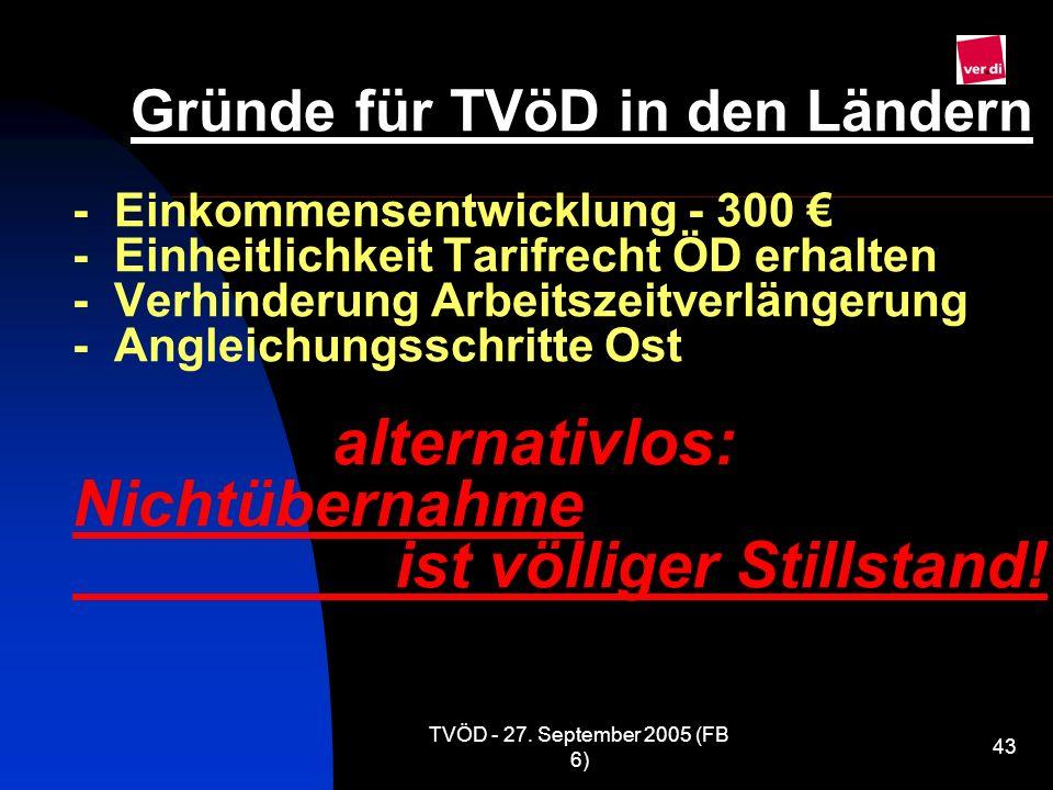 TVÖD - 27. September 2005 (FB 6) 43 Gründe für TVöD in den Ländern - Einkommensentwicklung - 300 - Einheitlichkeit Tarifrecht ÖD erhalten - Verhinderu