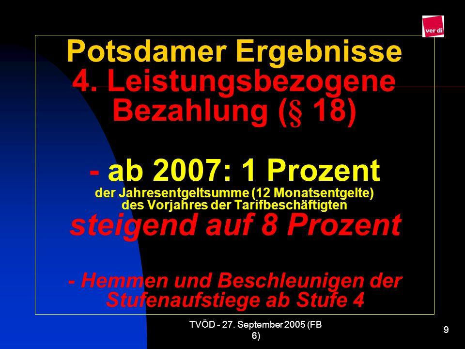 TVÖD - 27. September 2005 (FB 6) 9 Potsdamer Ergebnisse 4. Leistungsbezogene Bezahlung (§ 18) - ab 2007: 1 Prozent der Jahresentgeltsumme (12 Monatsen