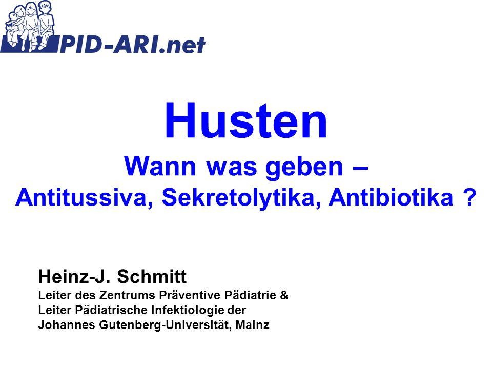 Differentialdiagnose Husten 1.ARI (Acute Respiratory Infections) 2.Weitere Infektionskrankheiten (Tuberkulose, …) 3.Allergie (Rhinitis, Asthma, …) 4.Umwelteinflüsse (Rauch, Reizstoffe, …) 5.Aspiration (Fremdkörper, Gastroösophagealer Reflux) 6.Anatomische Defekte (Fistel, Zyste, Lungensequester …) 7.Stoffwechselkrankheiten (Mukoviszidose …) 8.Einengung der Luftwege (Tumore, Lymphknoten …) 9.Psychogen 10.Medikamente 11.Varia: Herzfehler, Nervenreizung, Sarkoidose, Swyer- James Syndrom, Gilles de la Tourette Syndrom…