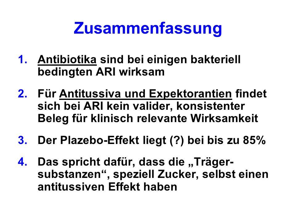 Zusammenfassung 1.Antibiotika sind bei einigen bakteriell bedingten ARI wirksam 2.Für Antitussiva und Expektorantien findet sich bei ARI kein valider,