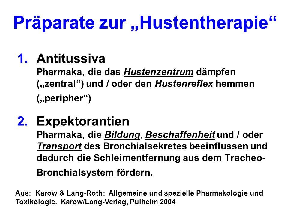 Präparate zur Hustentherapie 1.Antitussiva Pharmaka, die das Hustenzentrum dämpfen (zentral) und / oder den Hustenreflex hemmen (peripher) 2.Expektora