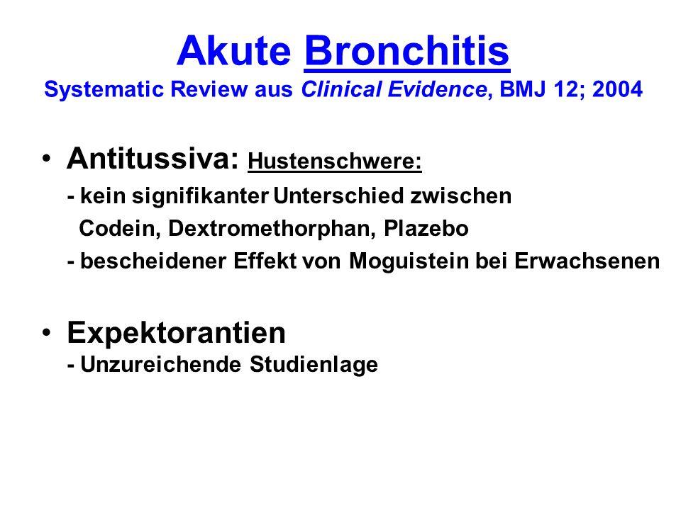 Ambulant erworbene Pneumonie Systematic Review aus Clinical Evidence, BMJ 12; 2004 Antitussiva: - unzureichende Studienlage Expektorantien - Unzureichende Studienlage Inhalation - Dampf (40 - 47°C) vs.