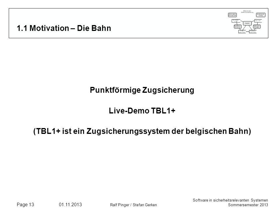 Software in sicherheitsrelevanten Systemen Sommersemester 2013 01.11.2013 Ralf Pinger / Stefan Gerken Page 13 1.1 Motivation – Die Bahn Punktförmige Z