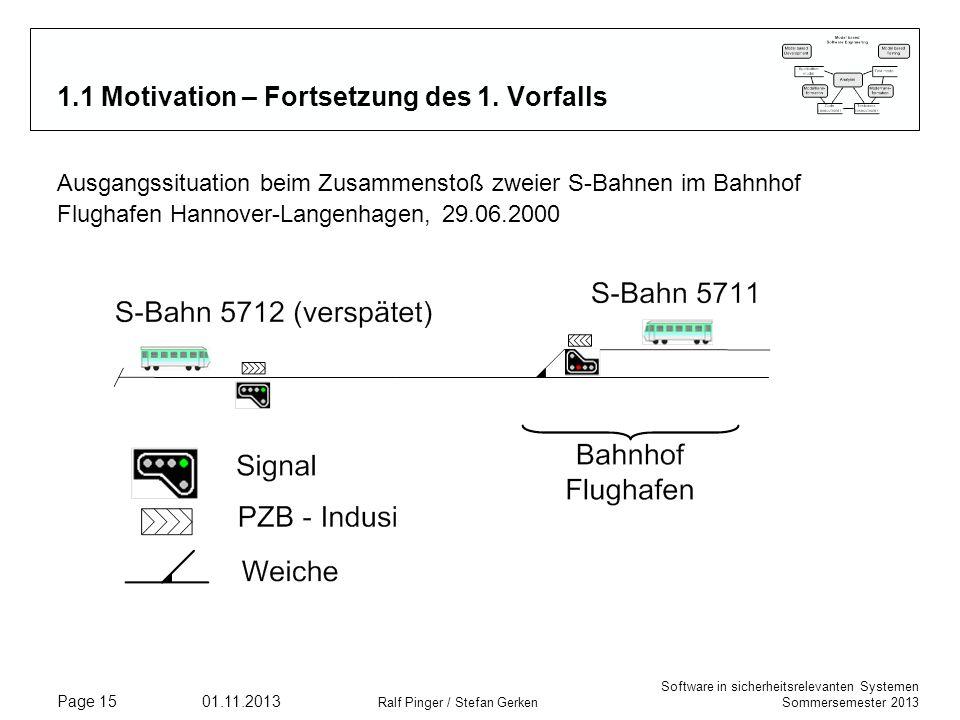 Software in sicherheitsrelevanten Systemen Sommersemester 2013 01.11.2013 Ralf Pinger / Stefan Gerken Page 15 1.1 Motivation – Fortsetzung des 1. Vorf