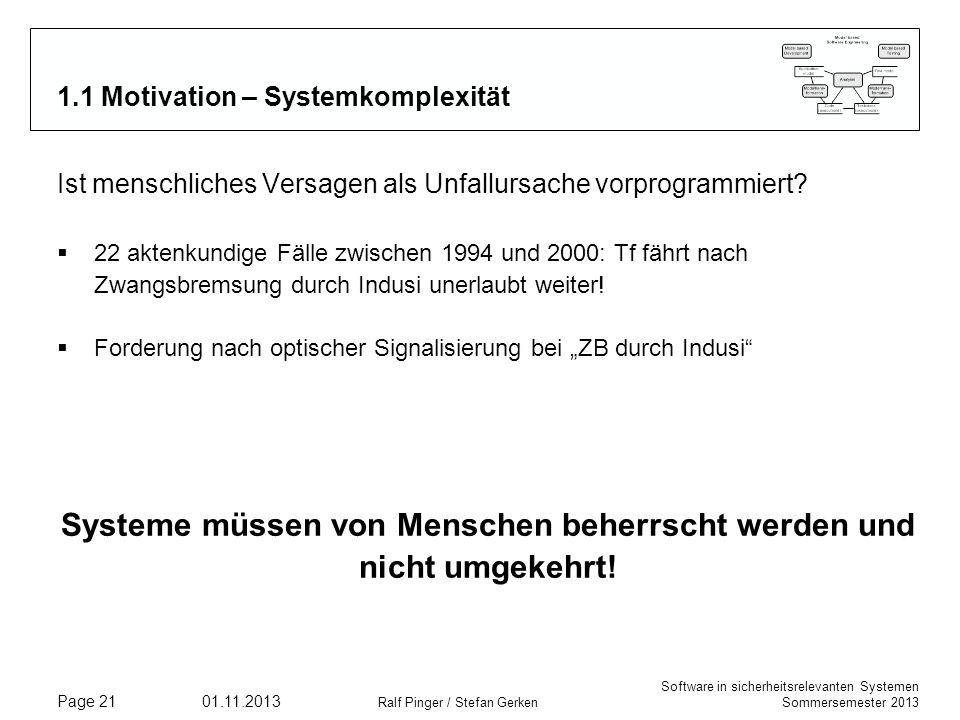 Software in sicherheitsrelevanten Systemen Sommersemester 2013 01.11.2013 Ralf Pinger / Stefan Gerken Page 21 1.1 Motivation – Systemkomplexität Ist m