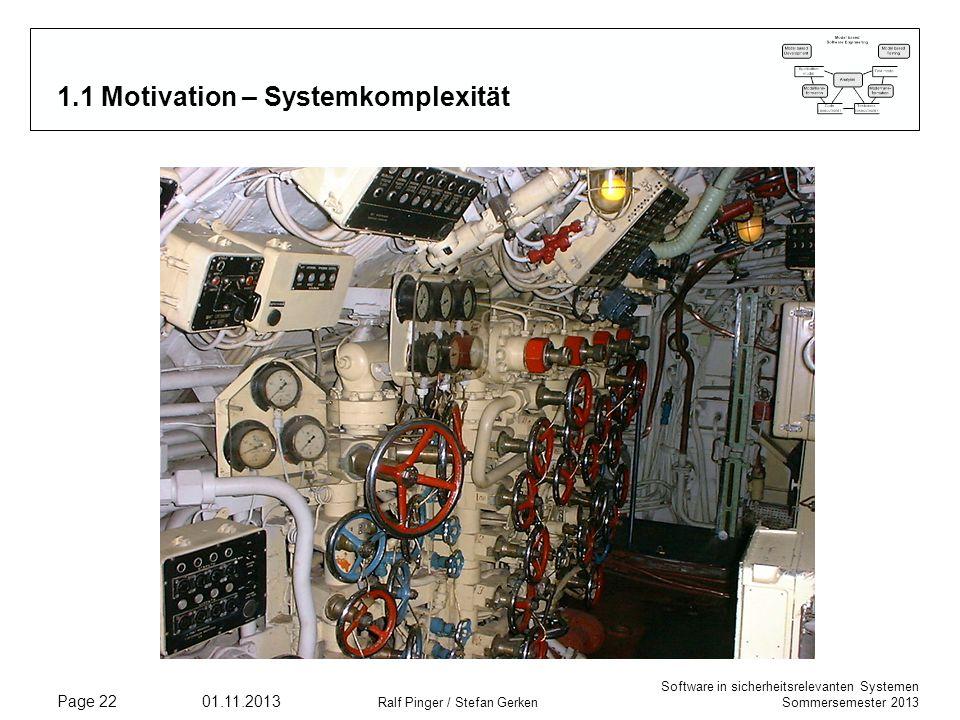 Software in sicherheitsrelevanten Systemen Sommersemester 2013 01.11.2013 Ralf Pinger / Stefan Gerken Page 22 1.1 Motivation – Systemkomplexität