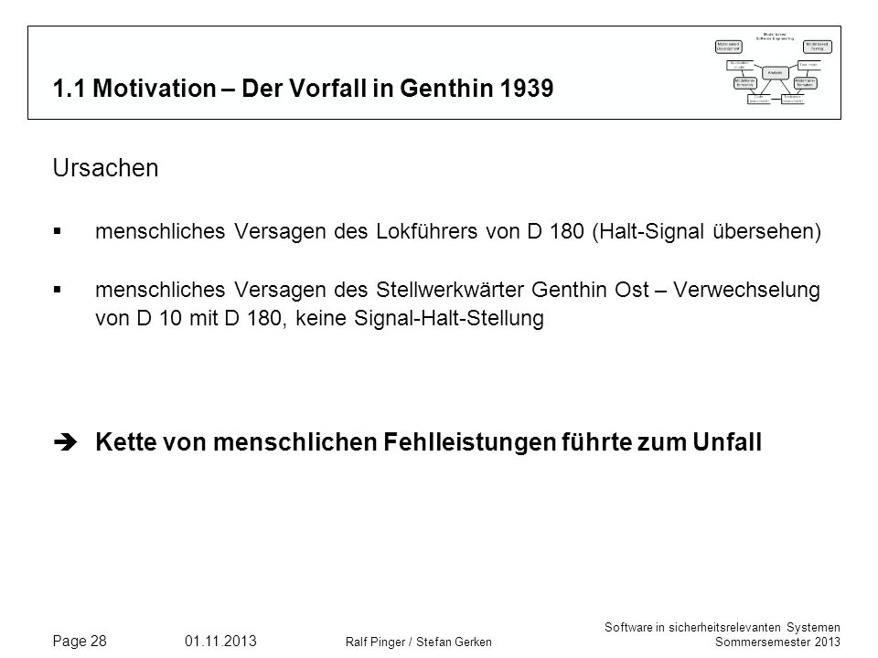 Software in sicherheitsrelevanten Systemen Sommersemester 2013 01.11.2013 Ralf Pinger / Stefan Gerken Page 28 1.1 Motivation – Der Vorfall in Genthin
