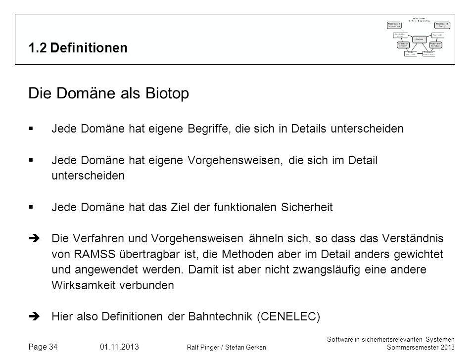 Software in sicherheitsrelevanten Systemen Sommersemester 2013 01.11.2013 Ralf Pinger / Stefan Gerken Page 34 1.2 Definitionen Die Domäne als Biotop J